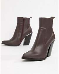 ASOS DESIGN Premium Leather Elka Western Ankle Boots