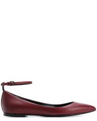 Burgundy Leather Ballerina Shoes