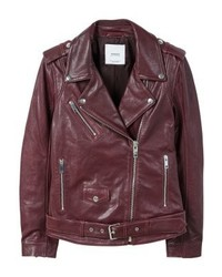 Mango Cherry Leather Jacket Cherry
