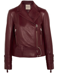 Tod's Leather Biker Jacket Burgundy