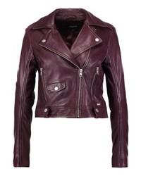 Neela leather jacket red plum medium 3993095