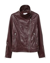 Mango Samoa Leather Jacket Maroon