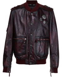 Philipp Plein Distressed Leather Bomber
