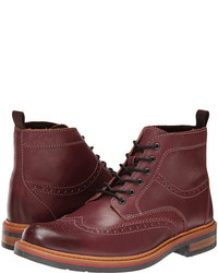Burgundy Leather Brogue Boots