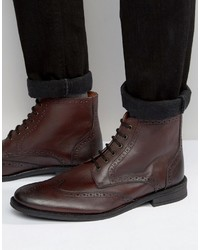 Brogue boots in burgundy leather medium 3726538