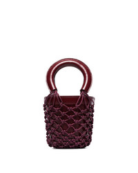Staud Red Moreau Mini Leather Bucket Bag