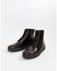 Zign Cupsole Lace Up Boots In Burgundy High Shine