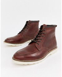 ASOS DESIGN Lace Up Boots In Brown Leather With White Sole