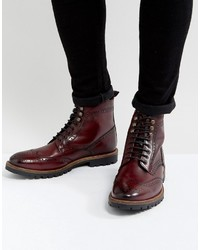 Troop leather lace up boots in red medium 4418719