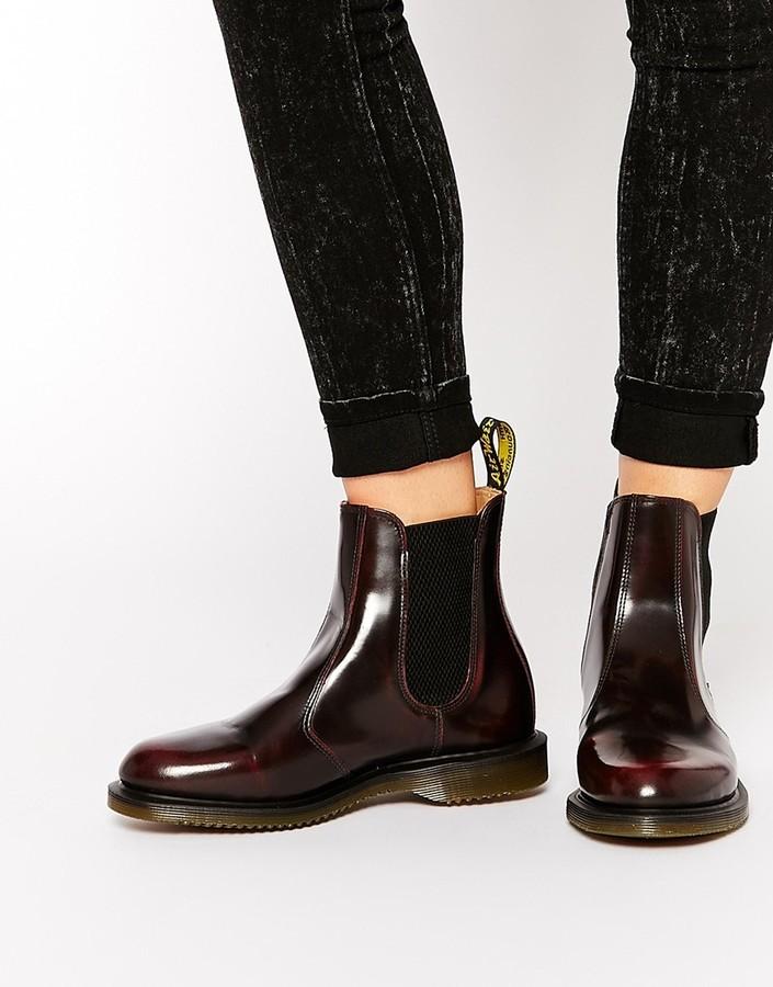 52a9809ad0f £74, Dr. Martens Dr Martens Kensington Flora Burgundy Chelsea Boots