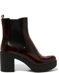 Prada Glossed Leather Platform Chelsea Boots Burgundy