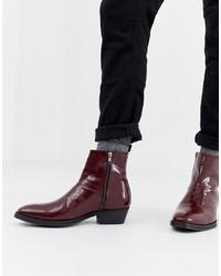 ASOS DESIGN Cuban Heel Western Chelsea Boots In Burgundy Leather