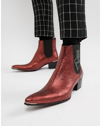 Jeffery West Sylvian Cuban Boots In Red Metallic Snake Print