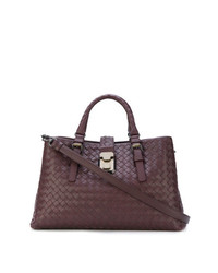 Bottega Veneta Dark Barolo Intrecciato Calf Small Roma Bag