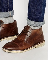 Asos Brand Desert Boots In Brown Leather