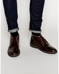 Asos Brand Desert Boots In Dark Burgundy Leather