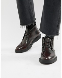 Zign Desert Boots In Burgundy High Shine