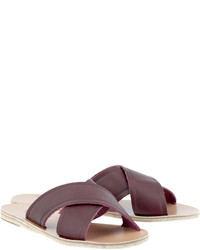 Burgundy Leather Flat Sandals