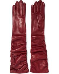 Alexander McQueen Ruched Leather Gloves Burgundy