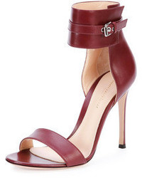 Burgundy Leather Heeled Sandals