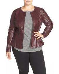 Plus size leather peplum jacket medium 817148