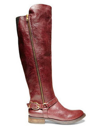 Burgundy Leather Knee High Boots