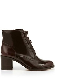 Burgundy Leather Lace-up Ankle Boots