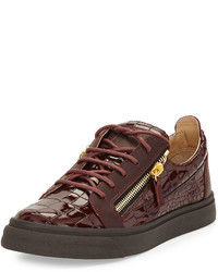 Burgundy Leather Low Top Sneakers