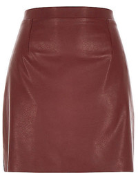 Burgundy Leather Mini Skirt