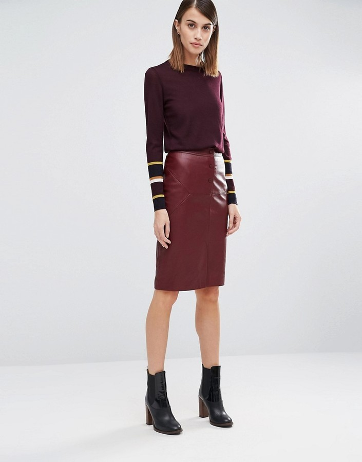 a0859d27de ... Burgundy Leather Pencil Skirts Whistles Leather Pencil Skirt ...