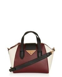 Topshop Faux Leather Mini Evening Bag Burgundy
