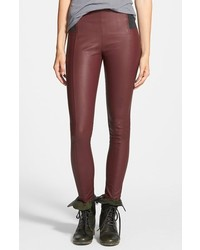 Burgundy Leather Skinny Pants