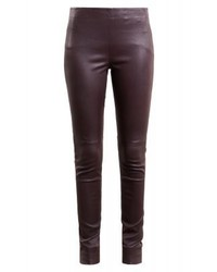 Bruuns Bazaar Chrissy Leather Trousers Dusty Bordeaux