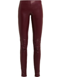 Balenciaga Stretch Leather Skinny Pants Burgundy