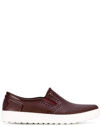 Salvatore Ferragamo Perforated Slip On Sneakers