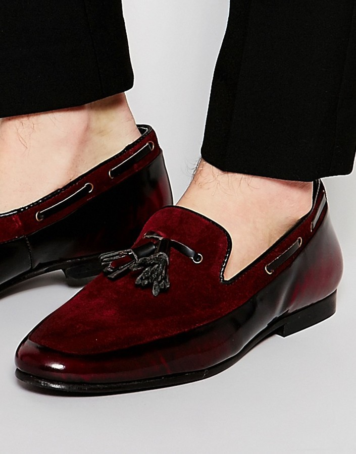 discount shop great discount wholesale £57, Asos Brand Tassel Loafers In Burgundy Suede And Leather Mix