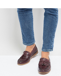 Silver Street Wide Fit Tassel Loafer In Burgundy Leather
