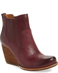 Burgundy Leather Wedge Ankle Boots