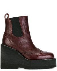 Sacai Perforated Wedge Ankle Boots