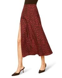 Burgundy Leopard Midi Skirt
