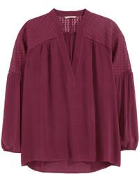 Burgundy Long Sleeve Blouse