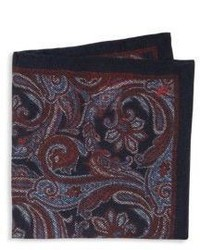 Burgundy Paisley Silk Pocket Square