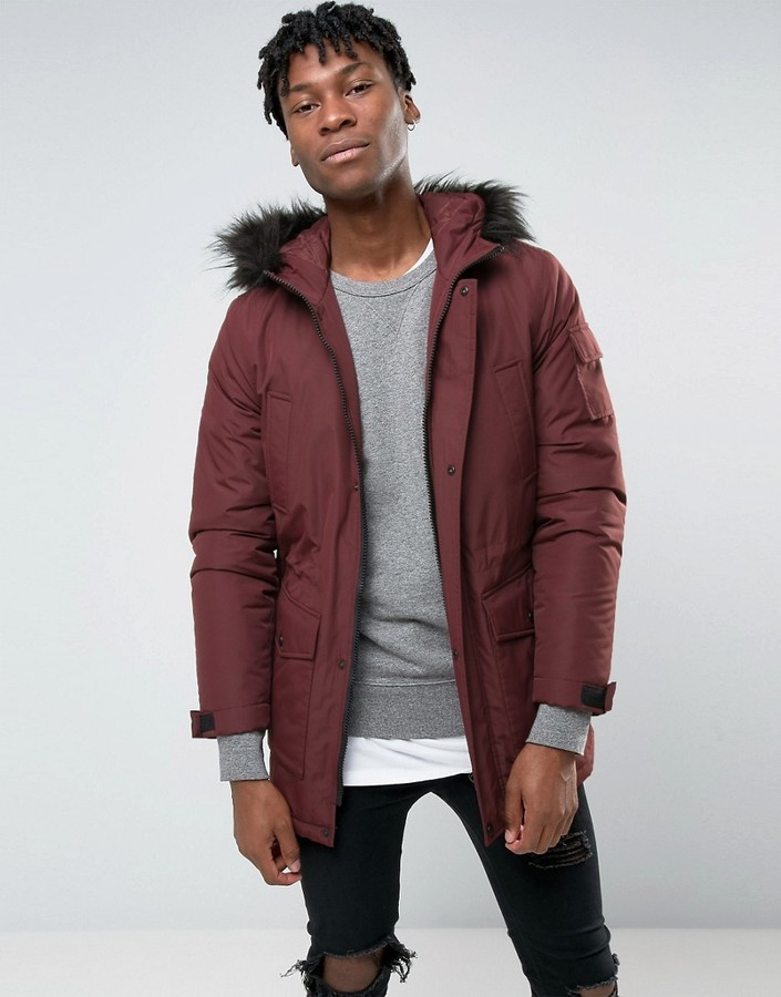 Asos Parka Jacket With Faux Fur Trim In Burgundy | Where to buy ...
