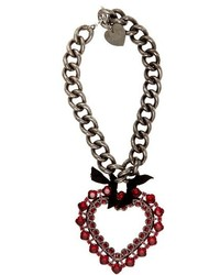 Lanvin Crystal Embellished Heart Pendant Necklace