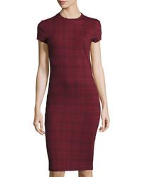 Burgundy Plaid Bodycon Dress