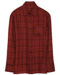 Plaid cashmere shirt medium 55409