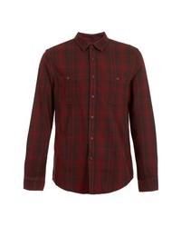 Burgundy Plaid Dress Shirt