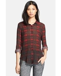 Sport plaid print cotton silk shirt medium 102716