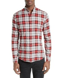 Modern cowbow trim fit plaid band collar sport shirt medium 1247597
