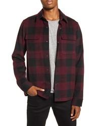 Burgundy Plaid Flannel Shirt Jacket